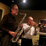 The music was hot, and the house was packed! JSOP's first Jazz Jam @ Jambalaya's drew a great crowd, and lots of musicians who sat in to create a great evening of exciting music. Roger Villines led the jam, with rhythm section Burt Kimberl (piano), Ken Chopcinski (bass) and George Neidorf (drums.)