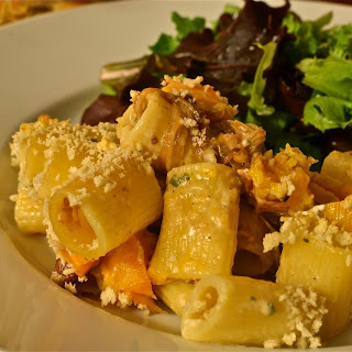 Creamy Baked Rigatoni with Butternut Squash + Goat Cheese