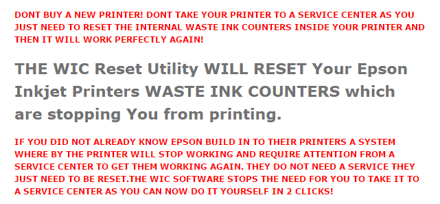 How to reset Epson SX105 printer