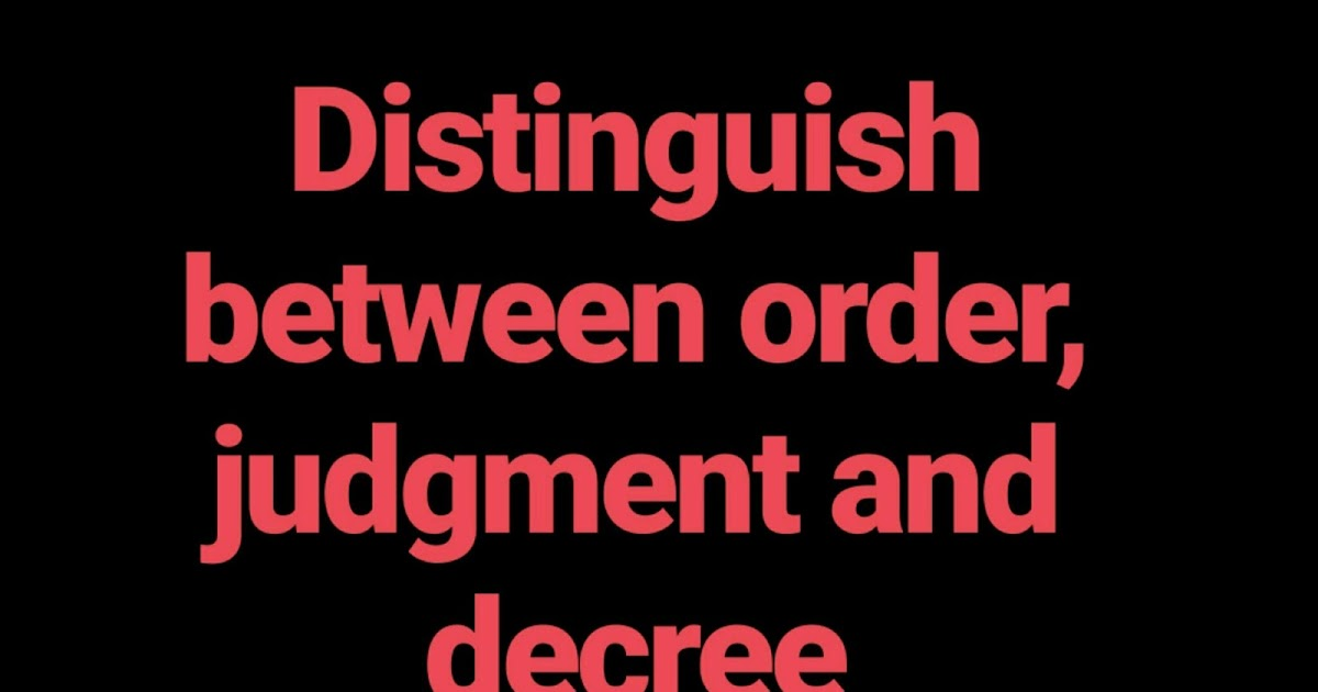 difference between decree and judgement