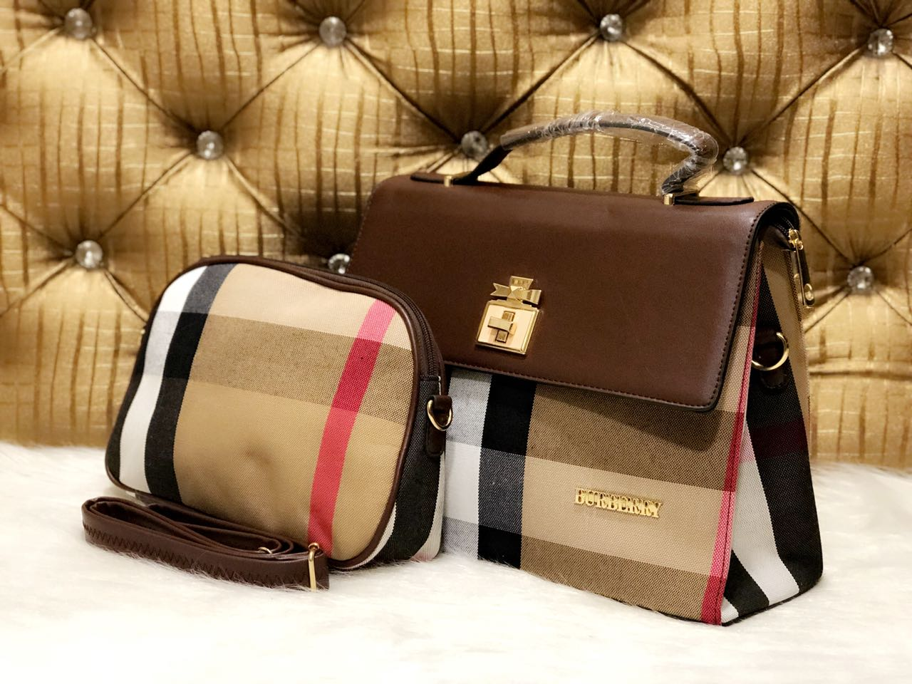 49d75543ab  BURBERRY Handbags combo set of 2 pcs available in 4 colours made in high  end fabric.   Dimension 10×13