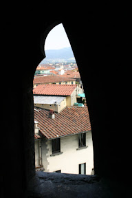 Looking out on Florence from the steps up the Dome of the Duomo