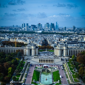 View from Eiffel Tower by Craig Payne - City,  Street & Park  Skylines ( eiffel tower, skyline, gardens, city )