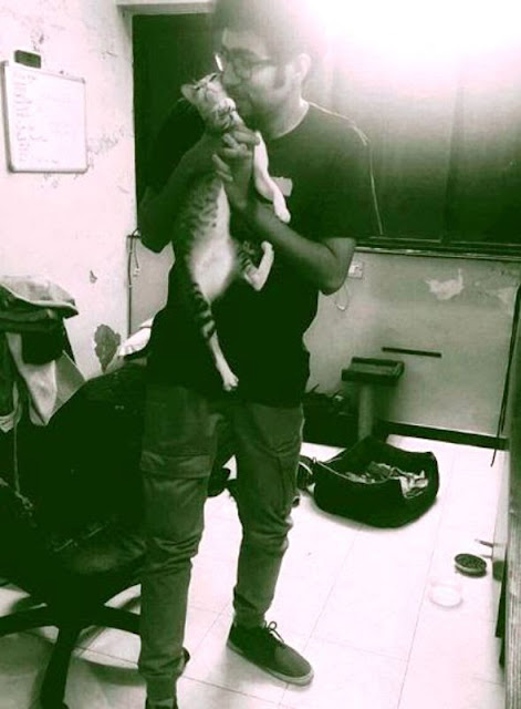 Abhishek Upmanyu with his cat