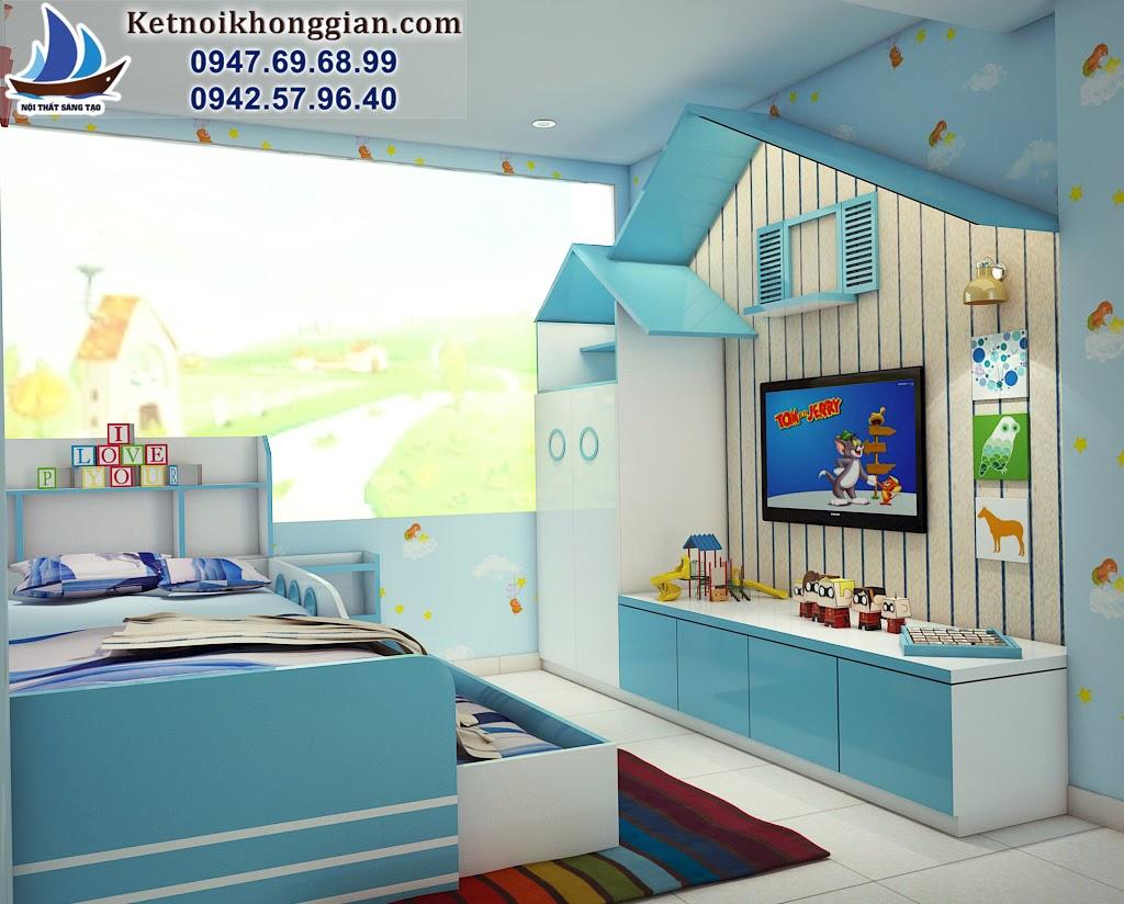 thiết kế phòng ngủ bé trai tiết kiệm không gian