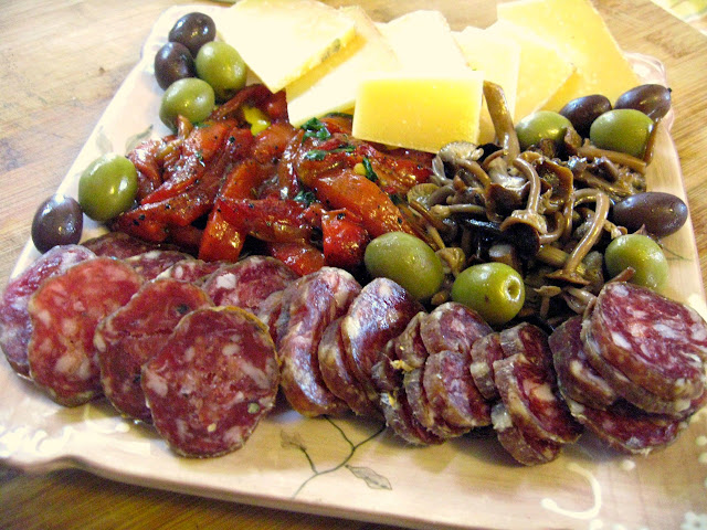 Antipasto Ideas and Why We Cook and Blog: Eggplant and Ricotta Bruschetta, Olives, Salumi, Cheese, and Pickled Mushrooms