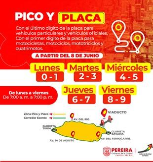 MODIFICACIÓN A HORARIO DE PICO Y PLACA EN PEREIRA