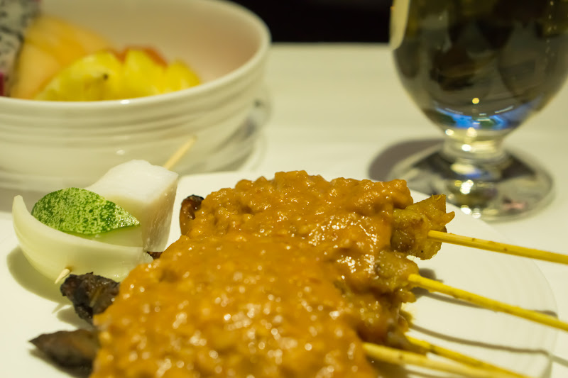 Malaysia Airlines Business class in-flight meal Sate