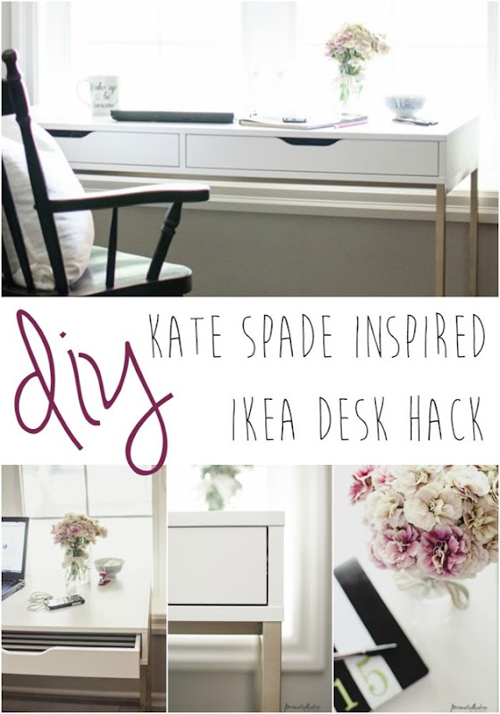 Kate Spade Inspired IKEA Desk | A plain white IKEA desk hacked into a Kate Spade inspired desk with spray paint and wrapping paper | personallyandrea.com
