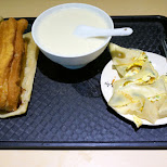 deep fried bread stick, soy milk cold soup and egg pancake - quintessential breakfast in Taipei, T'ai-pei county, Taiwan