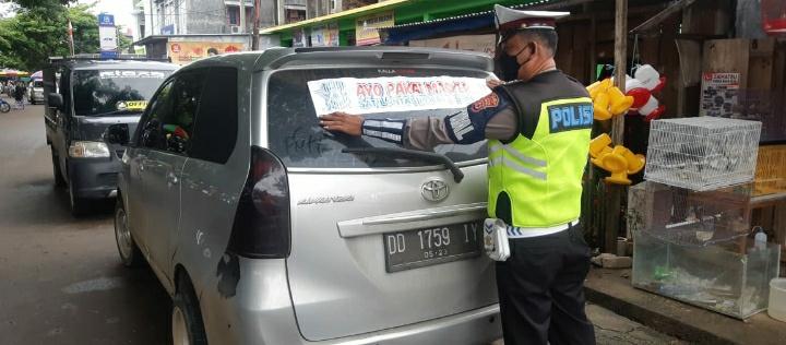 Sat Lantas Polres Soppeng Terus Gelorakan Gerakan Ayo Pakai Masker Cegah Covid-19