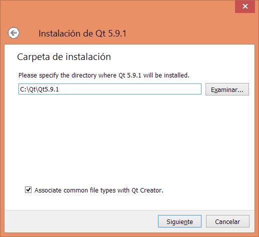 Carpeta de instalación de Qt 5.9.1