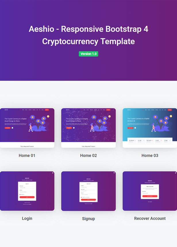Aeshio - Crypto Currency HTML5 Template - 1