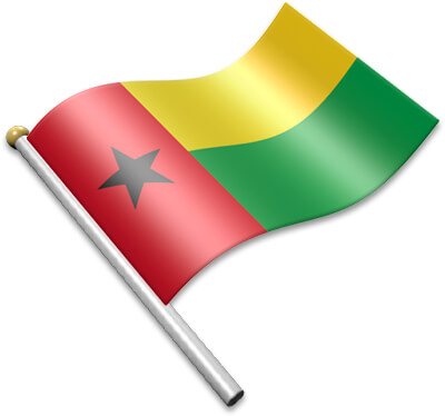 The Bissau Guinean flag on a flagpole clipart image