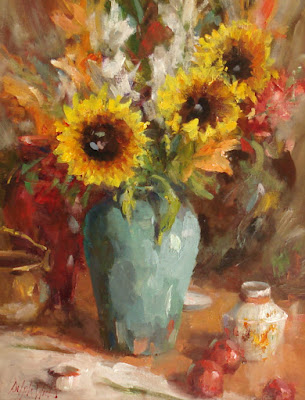 """Sunflower Bouquet in Teal Vase"""