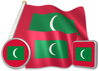 Maldivian flag animated gif collection