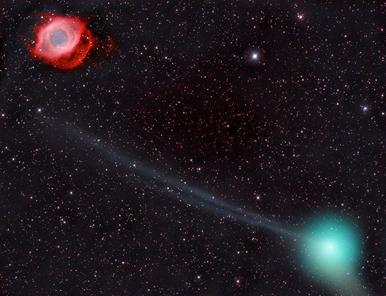Nebulosa da Hélice e Cometa PanSTARRS