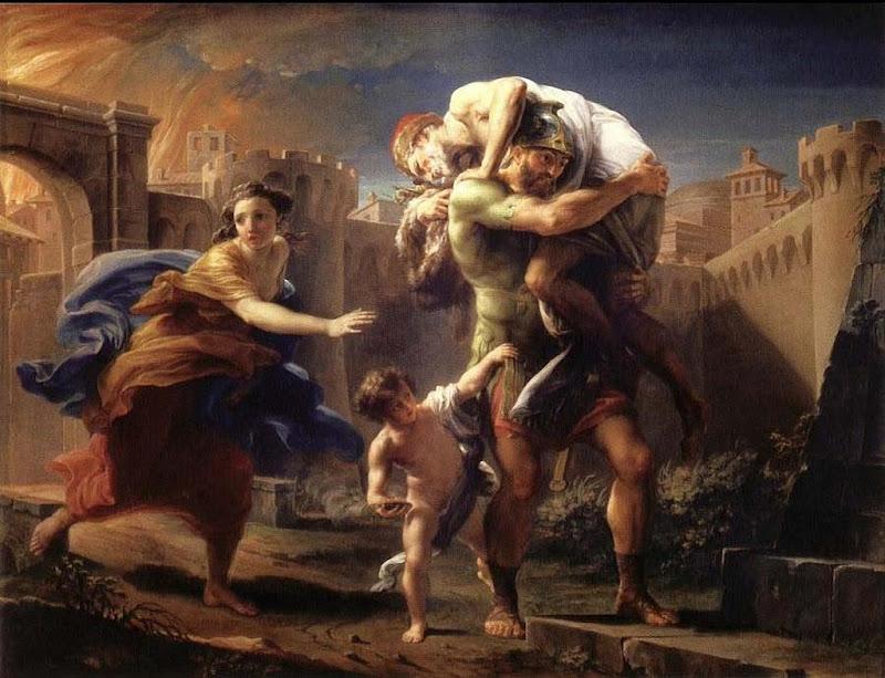 Eneas flees Troy