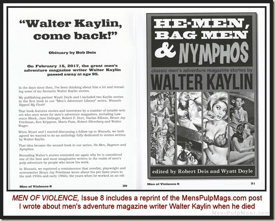 MEN OF VIOLENCE, Issue 8 - Walter Kaylin obit