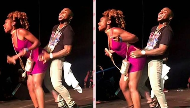 See The Reaction Of Davido When A Lady Rocked Him On Stage In USA (Photos)
