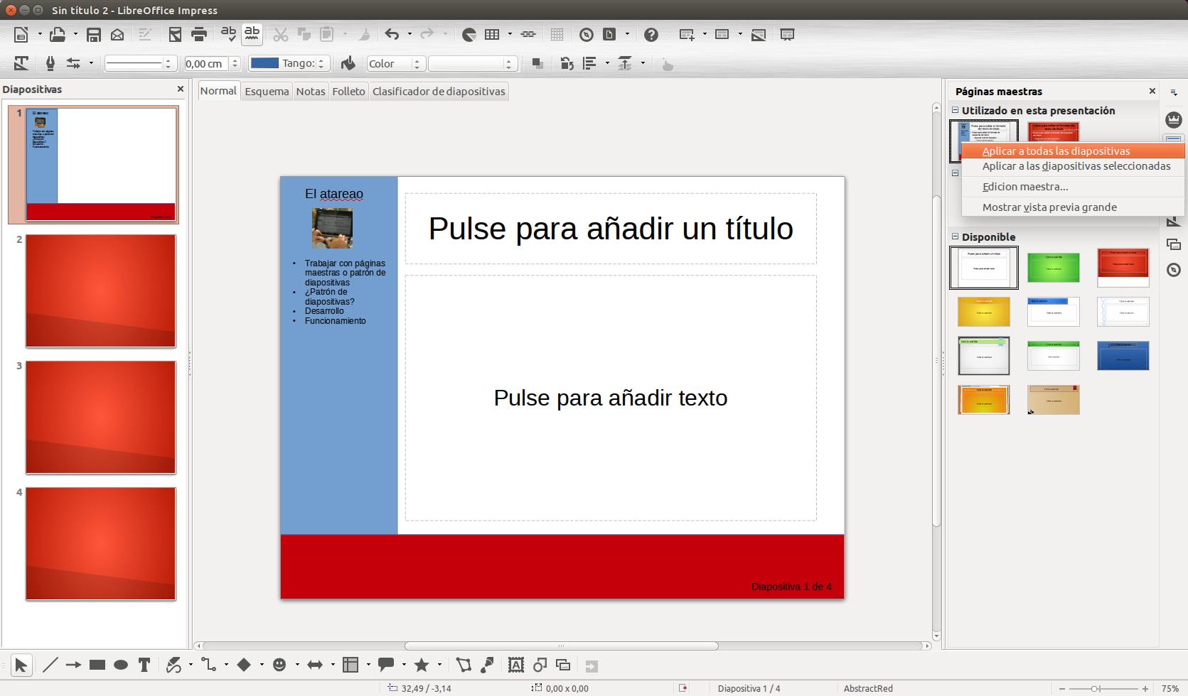 Como utilizar el patrón de diapositivas en Impress - El atareao