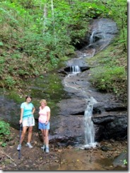 Tricia and Barbra by a nice little waterfall