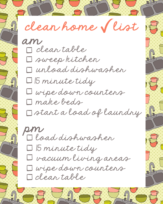 clean home checklist at GingerSnapCrafts.com