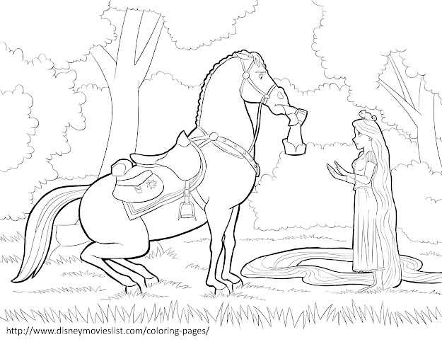Printable Disney Coloring Page Sheet Titled Rapunzel And Maximus