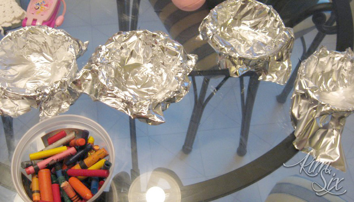 Prepping containers to melt down crayons