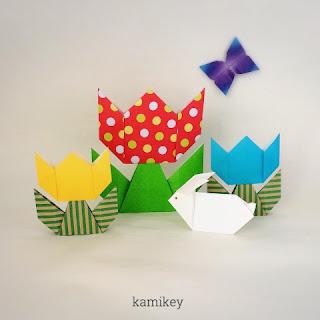 折り紙のチューリップとちょうちょ