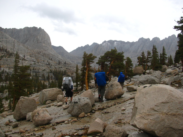 hiking on slanted wet granite