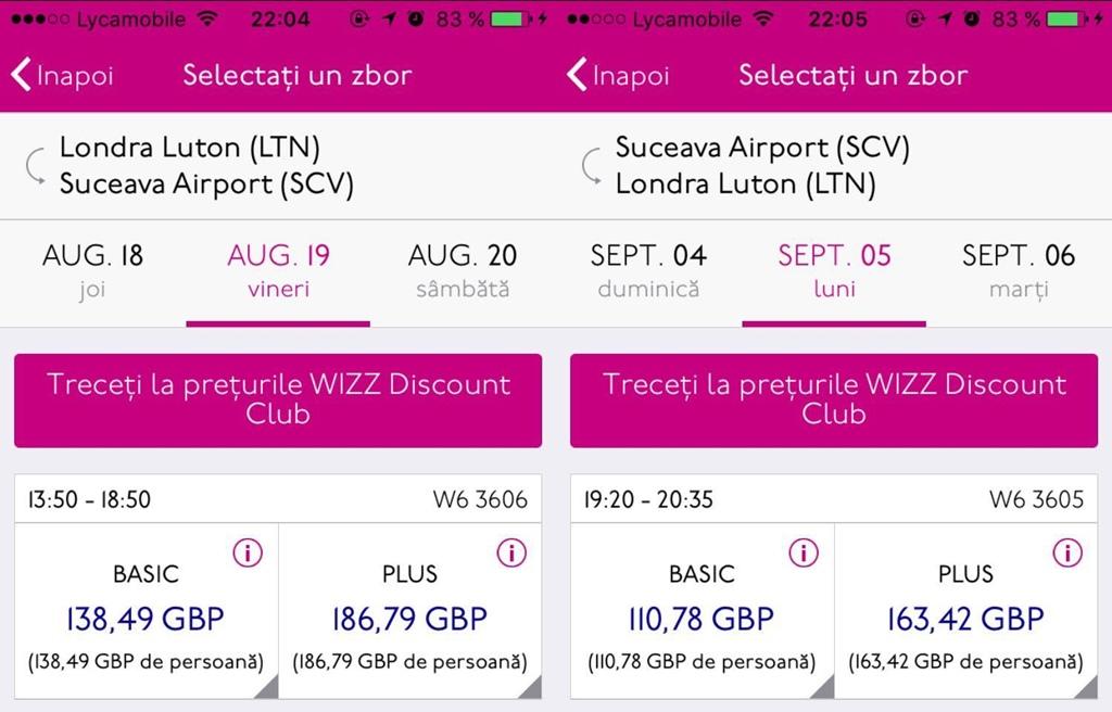 Bilete Wizz Air miercuri seară