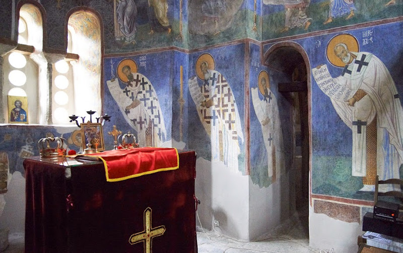18. Frescoes on altar wall. The Church of St. Panteleimon in Gorno Nerezi. XII Century