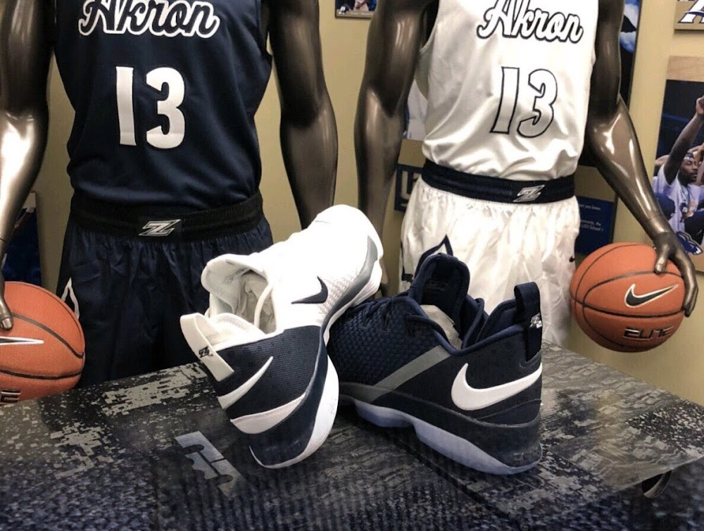 cheaper b56fb ec344 ... First Look at Nike LeBron 14 Low Akron Zips Home and Away PEs
