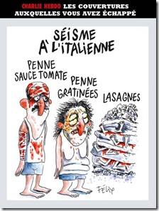 La vignetta sul terremoto in Italia di Charlie Hebdo