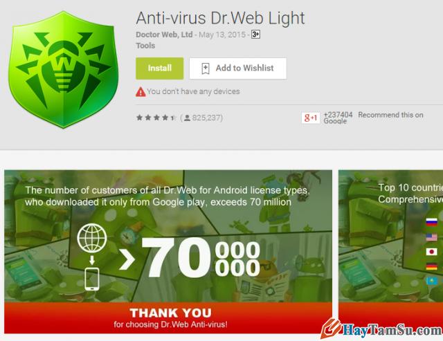 Ứng dụng Dr Web Anti-virus