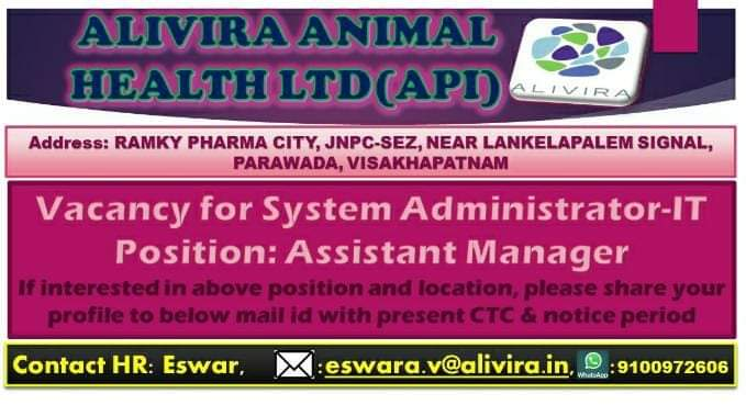 Alivira Animal Health Ltd - Mega Walk-In Drive for Freshers - Quality Control on 3rd Jan' 2020