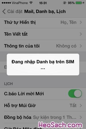 Hình 4 - Hướng dẫn sao chép(copy) số điện thoại danh bạ từ SIM vào iPhone