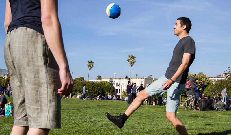 Green Oxford Shorts: Foot Juggling in Dolores