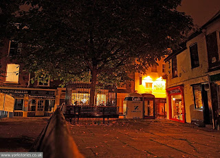 23 Sept 2013. I went to sit on Paul Woosey's bench, in the dark. Then went home and wrote http://www.yorkstories.co.uk/who-was-paul-woosey/