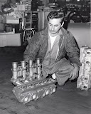 Max Balchowsky with one of two sets of aluminum hi-po heads he made in the mid 60's.