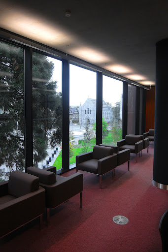 Boole Library interior view looking out to the Honan Chapel