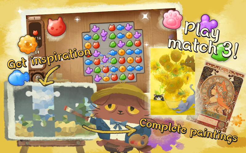 Cats Atelier - Days of van Meowogh: A Meow Match 3 Screenshot 2