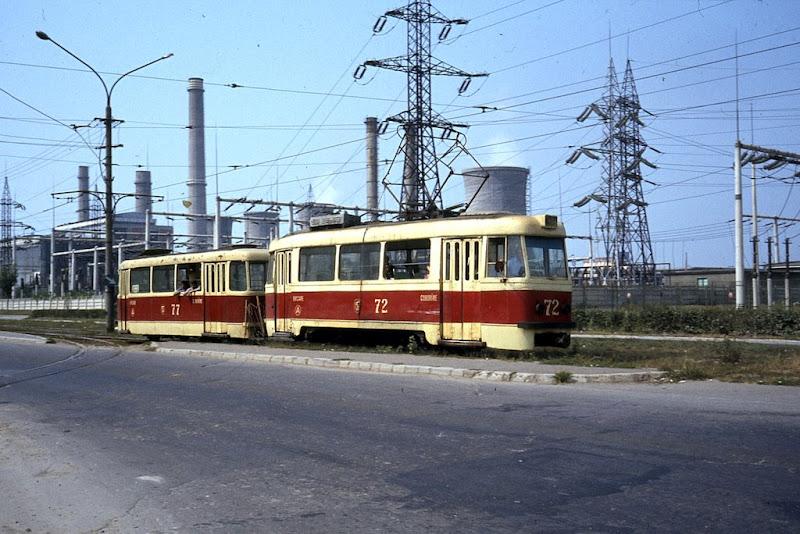 Tram in industrial zone of Iasi
