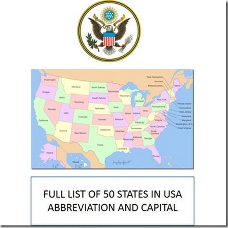 List Of States In USA With Abbreviations And Capital Emagazineu - Usa country abbreviation