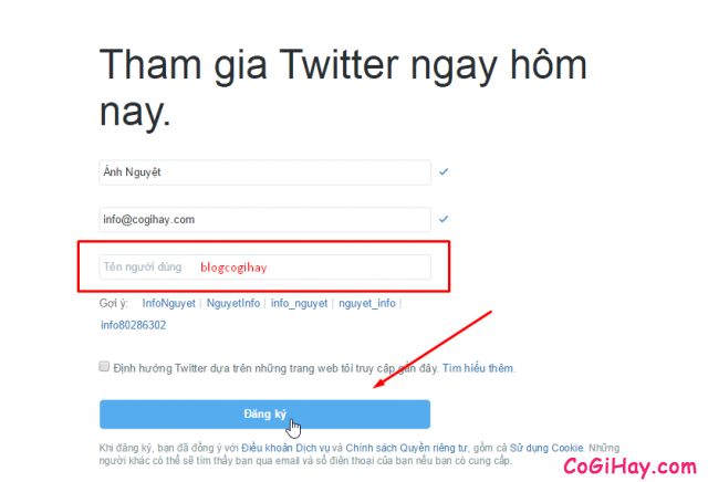 Chọn tên người dùng twitter