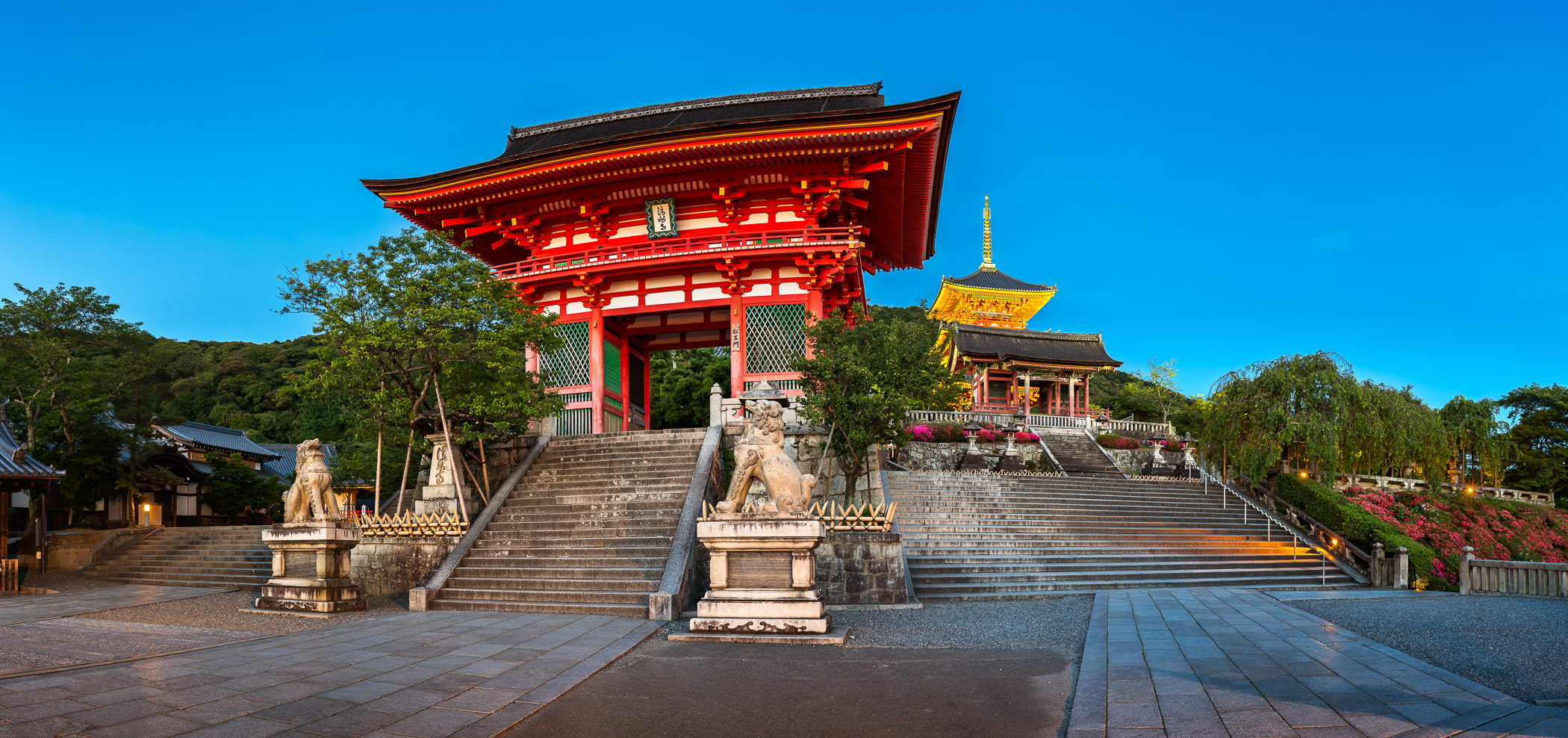 Panorama of Otowa-san Kiyomizu-dera Temple in the Evening, Kyoto, Japan