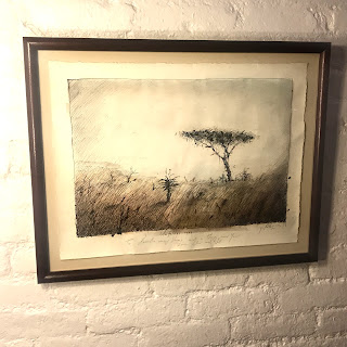 Signed South African Landscape Drawing