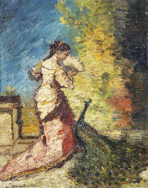 Adolphe-Joseph-Thomas Monticelli - Femme au Paon