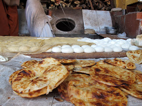 Typical breakfast in Muzaffrabad with Bakarkhani